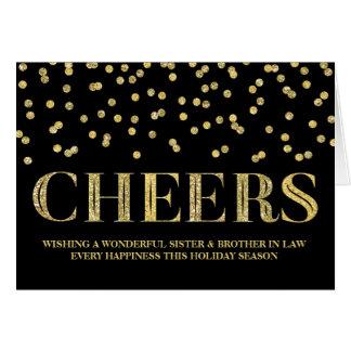 Navidad hermana y cuñado del confeti del oro tarjeta de felicitación