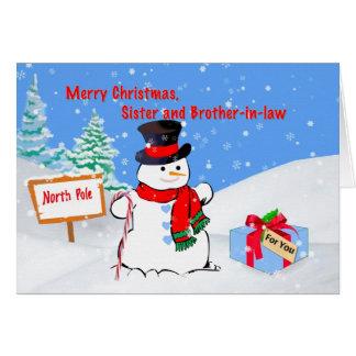 Navidad, hermana y cuñado, muñeco de nieve tarjeta