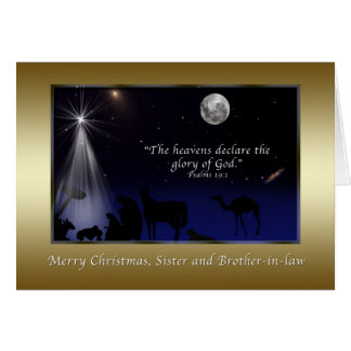 Navidad, hermana y cuñado, natividad tarjeta de felicitación