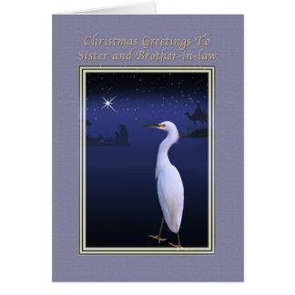 Navidad, hermana y cuñado, religiosos tarjeta de felicitación