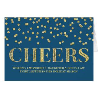 Navidad hija y yerno del confeti de la marina de tarjeta de felicitación