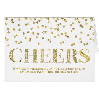 Navidad hija y yerno del confeti del oro tarjeta de felicitación