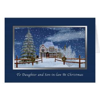 Navidad, hija y yerno, escena del invierno tarjeta de felicitación