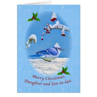 Navidad, hija y yerno, pájaro azul y tarjeta de felicitación