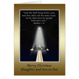 Navidad, hija y yerno, religiosos tarjetón