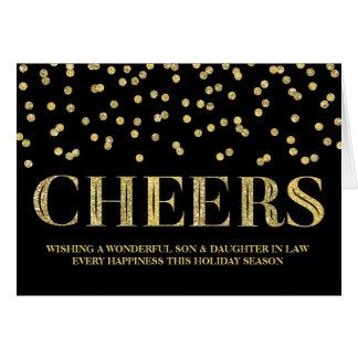Navidad hijo y nuera del confeti del oro tarjeta de felicitación