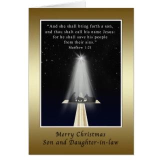 Navidad, hijo y nuera, religiosos tarjeta de felicitación