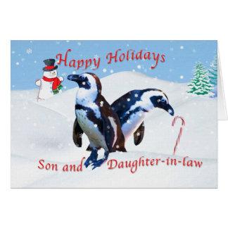 Navidad, hijo y nuera tarjeta de felicitación