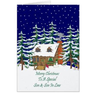Navidad hijo y yerno de la cabaña de madera tarjeta de felicitación