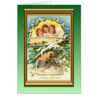 Navidad iglesia y coro del vintage de la reproduc felicitaciones