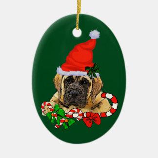 Navidad inglés del mastín adorno navideño ovalado de cerámica