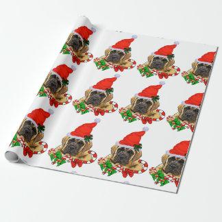 Navidad inglés del mastín papel de regalo