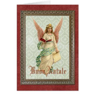 Navidad italiano del vintage que saluda ángel tarjeta de felicitación