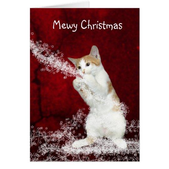 Navidad juguetón del gatito tarjeta de felicitación