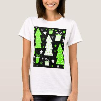 Navidad juguetona verde camiseta