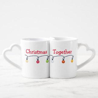 Navidad junto taza para enamorados