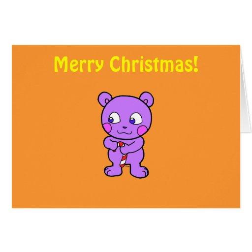 Navidad linda del oso tarjetón