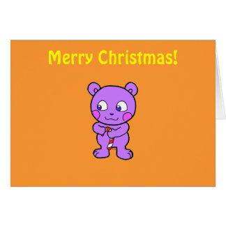 Navidad linda del oso tarjeta de felicitación