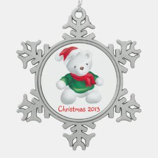 Navidad lindo 2013 del peluche adorno de peltre en forma de copo de nieve