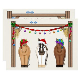 Navidad lindo de los caballos del día de fiesta de invitación 12,7 x 17,8 cm
