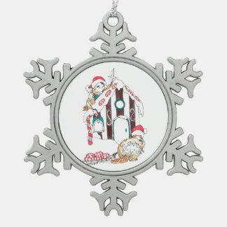 Navidad lindo del chalet del castor que adorna adorno de peltre tipo copo de nieve