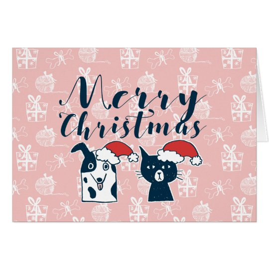 Navidad lindo del ejemplo del perro y del gato de tarjeta de felicitación