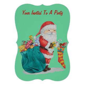 Navidad lindo del padre con los juguetes y los invitaciones personalizada