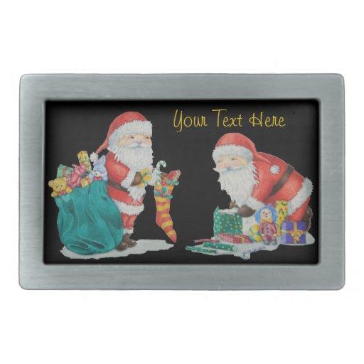 Navidad lindo del padre con los juguetes y los reg hebillas cinturón rectangulares