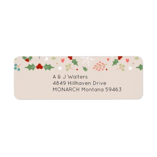 Navidad lindo floral y etiqueta de dirección de