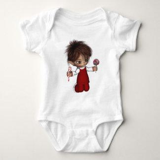 Navidad mágico del caramelo del duende body para bebé