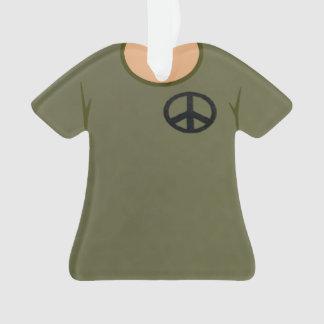 Navidad militar personalizado del signo de la paz adorno