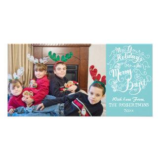 Navidad moderno de la foto de la feliz aguamarina tarjeta fotográfica