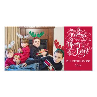 Navidad moderno de la foto de los felices días de tarjeta personal con foto