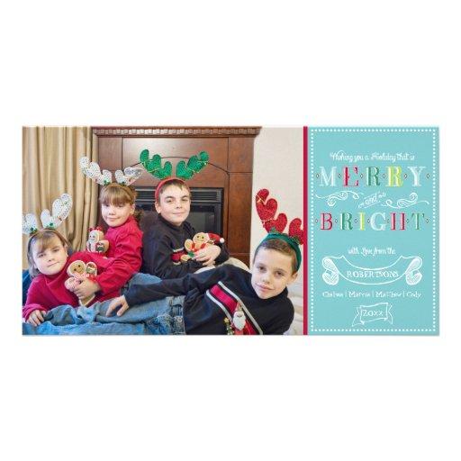 Navidad moderno de la foto de los felices días de  tarjeta fotográfica personalizada