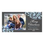 Navidad moderno del Flourish del remolino gris y a Tarjetas Fotográficas Personalizadas