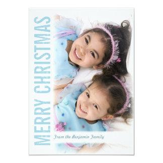Navidad moderno del marco de la nieve que saluda invitación 12,7 x 17,8 cm