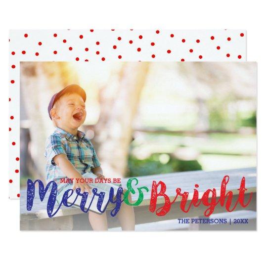 Navidad moderno feliz y foto brillante del día de invitación 12,7 x 17,8 cm