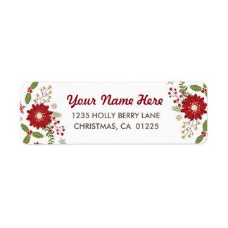 Navidad moderno rústico floral etiquetas de remite