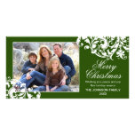 Navidad moderno verde y blanco del Flourish del re Tarjetas Con Fotos Personalizadas