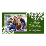 Navidad moderno verde y blanco del Flourish del Tarjetas Fotográficas