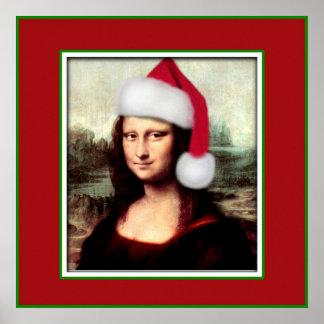Navidad Mona Lisa con el gorra de Santa Póster