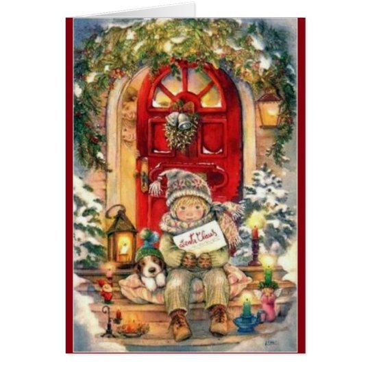 Navidad muchacho y perro del vintage tarjeta de felicitación