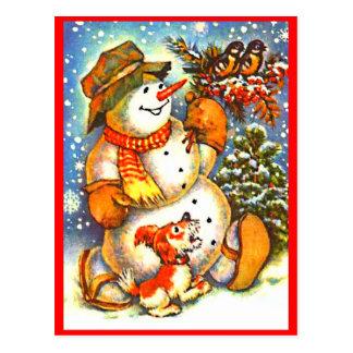 Navidad muñeco de nieve, postal roja de las bayas