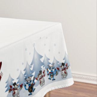 Navidad muñeco de nieve y amigos mantel