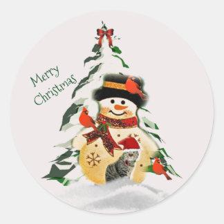 Navidad muñeco de nieve y pegatina redondo de los