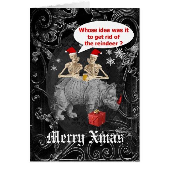 Navidad negro de los esqueletos góticos divertidos tarjeta de felicitación
