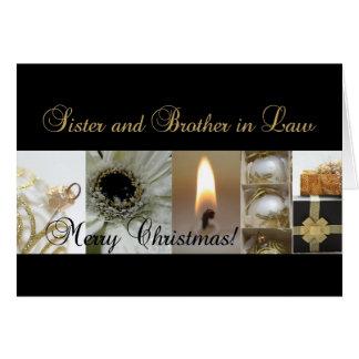 Navidad negro y blanco de la hermana y del cuñado tarjeta de felicitación