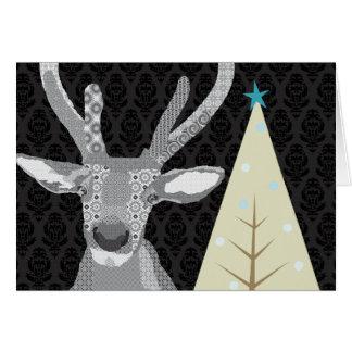 Navidad negro y blanco del compinche (alce) que sa felicitaciones