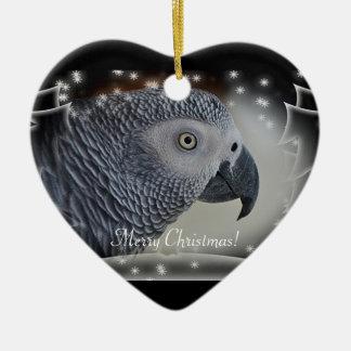 Navidad Nevado del gris africano Adorno De Cerámica En Forma De Corazón