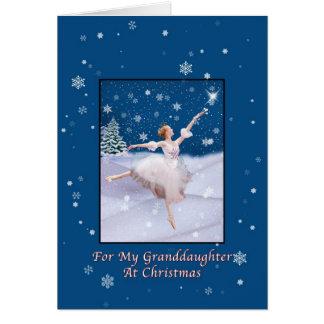 Navidad, nieta, bailarina de la reina de la nieve tarjeta de felicitación